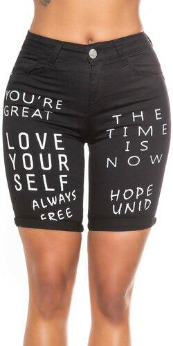 Dlhé čierne džínsové šortky s nápismi