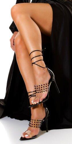 Vybíjané vysoké sandálky so šnurovaním Čierna