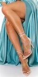 Vybíjané vysoké sandálky so šnurovaním Béžová