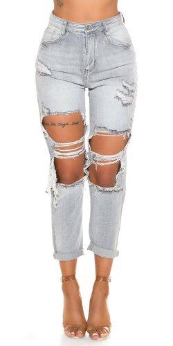 Sivé roztrhané džíny Mom Fit
