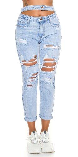 Bavlnené svetlé džíny s dvojitým pásom