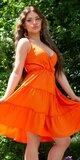 Riasené Babydoll šaty na leto Oranžová