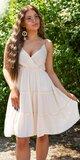 Riasené Babydoll šaty na leto Béžová