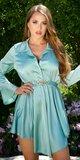 Elegantné saténové šaty s retiazkou Mintová