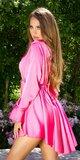 Elegantné saténové šaty s retiazkou Ružová