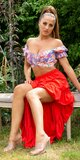 Latina High-Low sukňa Červená