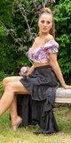 Latina High-Low sukňa Čierna