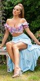 Latina High-Low sukňa Tyrkysová