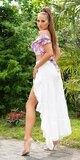 Latina High-Low sukňa Biela