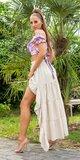 Latina High-Low sukňa Béžová