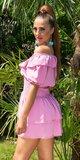 FEMININE šaty s úzkym pásom na leto Bledá ružová