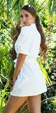 Blejzrové šaty s puff rukávmi Biela