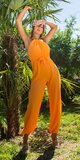 Dámsky letný overal s opaskom Oranžová