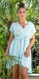 Našuchorené viskózové šaty s viazaním v páse Mintová