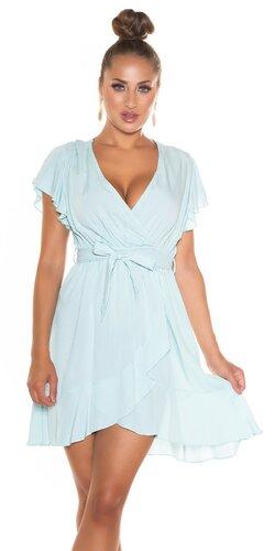 Našuchorené viskózové šaty s viazaním v páse