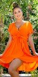 Našuchorené viskózové šaty s viazaním v páse Oranžová