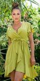 Našuchorené viskózové šaty s viazaním v páse Khaki