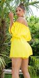 OFF-SHOULDER šortkový overal s opaskom Žltá