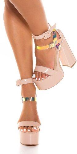Platformové sandále s block podpätkom