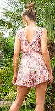 Letný overal s kvetmi Ružová