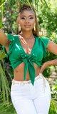 Saténový letný top s viazaním Zelená