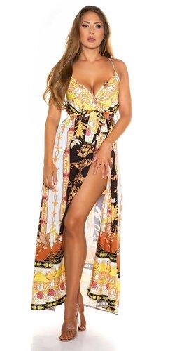 Potlačené dlhé šaty v hodvábnom vzhľade