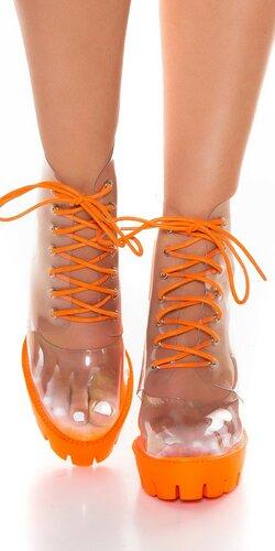 Dámske priehľadné topánky so šnurovaním
