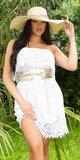 OFF-SHOULDER dámske čipkované šaty Biela