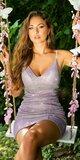 Metalické šaty strih bodycon Lilac