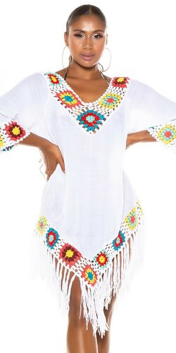 Biele plážové šaty v štýle BOHO