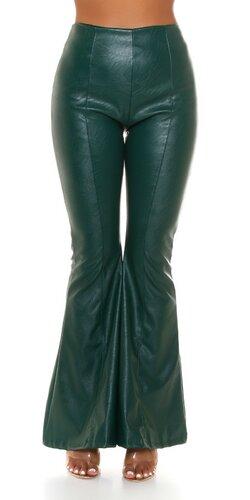 Dámske rozšírené nohavice v koženom vzhľade