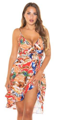 Letné mini šaty s potlačou pierok