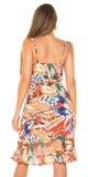 Letné mini šaty s potlačou pierok Červená
