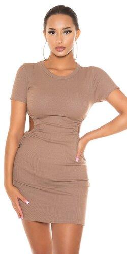 Viskózové bodycon šaty s otvorenými rebrami