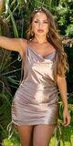 Dámske saténové šaty so šnurovacími ramienkami Zlatá