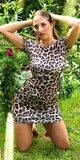 Viskózové bodycon šaty s otvorenými rebrami Leopard