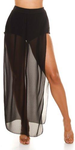 Čierne šortky s pripojenou šifónovou sukňou