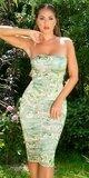 Dlhé našuchorené dámske šaty s potlačou Khaki