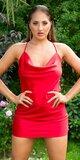 Mini klubové šaty s padavým výstrihom Červená