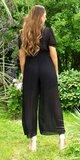 Dámsky overal so širokými nohavicami Čierna