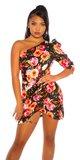 ONESHOULDER šaty Kvety Čierna