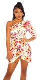 ONESHOULDER šaty Kvety Biela