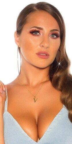Oceľový náhrdelník písmeno V