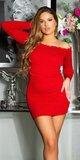 Šaty z úpletu s vlnkovým lemom Červená