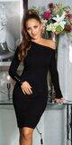 Dlhé úpletové šaty s odhaleným ramenom Čierna