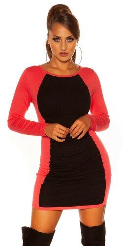Dvojfarebné pletené mini šaty