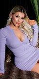 Pletené šaty s rozopínateľným dekoltom Lilac