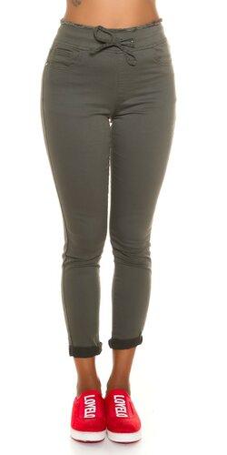 Khaki vysoké nohavice so sťahovacou šnúrkou