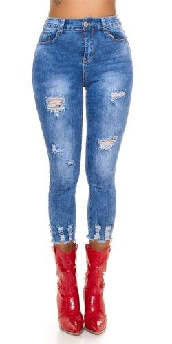 Krátke roztrhané džínsy s vysokým pásom