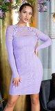 Pletené šaty s priehľadnými pruhmi Lilac